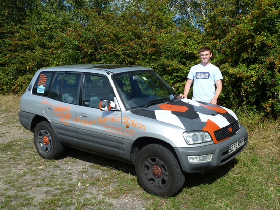 Still looking good and running perfectly after 3,900 miles of travelling through 14 countries – the 16 year old Toyota RAV4 in which Niall Brown (shown here with the vehicle) and his friends drove to Bratislava in Slovakia (and all the way back again), raising money for Dementia UK.