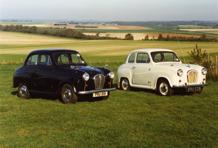 Austin A30/A35 models are compact classics that are especially easy and fun to own. On the left in this shot is a 1955 four door A30, on the right is a 1958 two door A35.