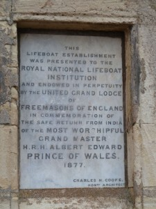 The Royal National Lifeboat Institution was established in the 19th Century to minimise loss of life due to shipwrecks. This plaque shows that the Hope Cove lifeboat station was presented to the R.N.L.I. in 1877 by the Freemasons.