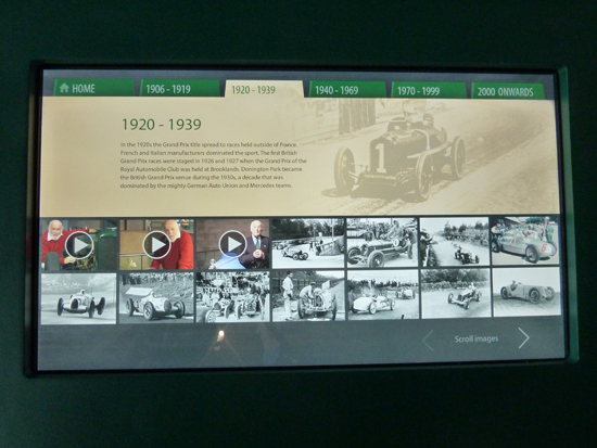 The 'Grand Prix Greats' collection includes interactive photograph/video displays. Visitors are able to select one (at a time) of six time frames, to view amazing images and video film showing motor racing progress through the years.