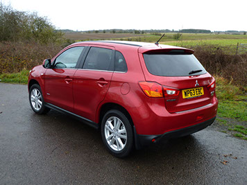The rear three quarters view of the ASX shows the wide rear doors, which provide easy access for passengers.