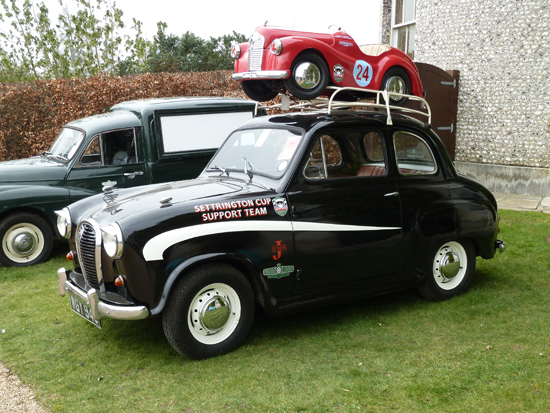 An appropriate 'piggy back' ride for this J40 was atop an Austin A35, also seen at Goodwood, in the spring of 2013. (Kim Henson comments that although he has owned many A35s and other 1950s Austins, he has never – yet – acquired a J40!).