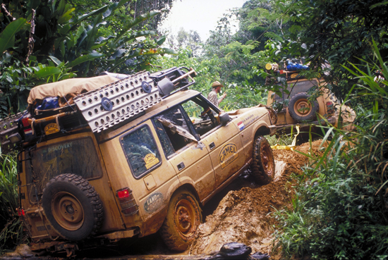 The original Discovery acquitted itself admirably in challenging jungle situations, such as seen in this shot, taken during the ultra-harsh 1990 Camel Trophy event. (Photo courtesy Land Rover).