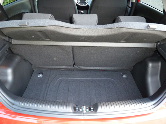 The Picanto's boot is quite spacious, and the folding rear seat divides on a one third/two thirds basis.