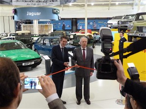 Classic car enthusiast the Rt. Hon. Gavin Williamson MP cuts the ribbon at the press unveiling of the completely refurbished British Motor Museum.