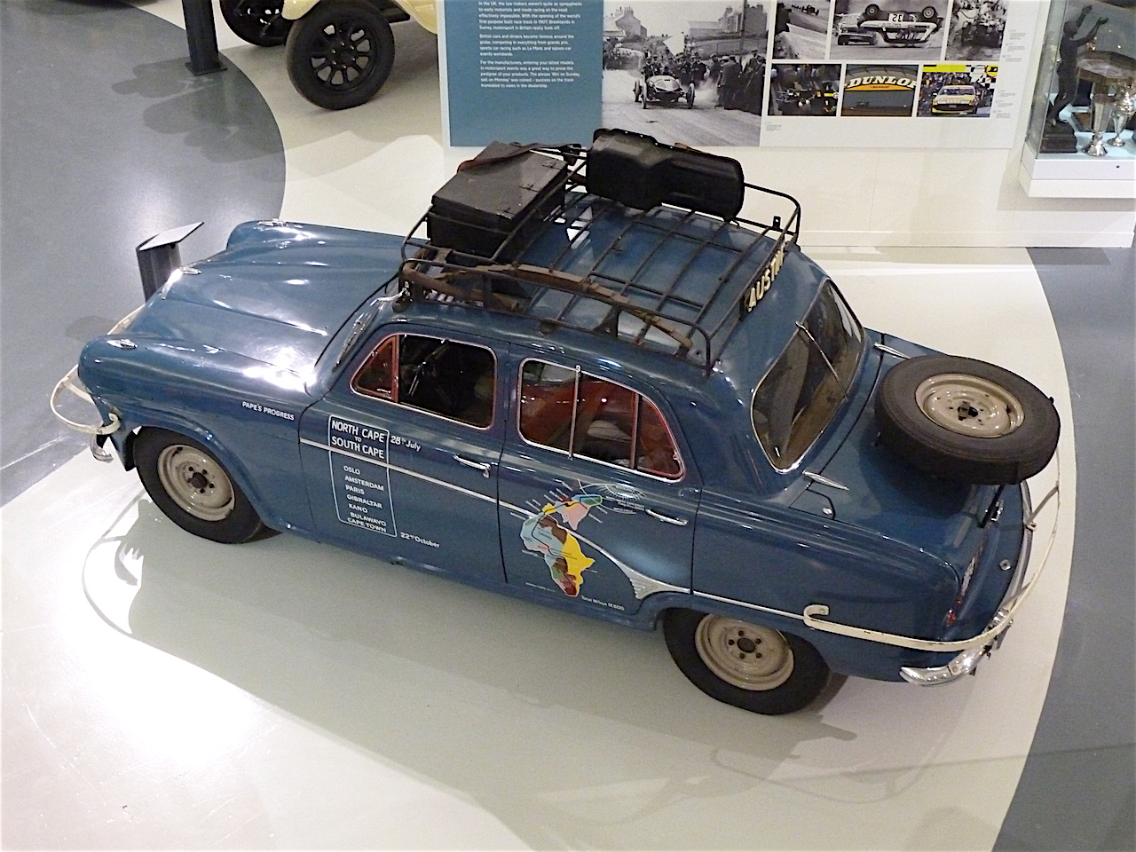 'Landmark' cars abound; this is THE Austin A90 (1955) that Richard Pape drove 17,500 miles from North Cape in Norway to Cape Town, South Africa, the first ever journey on this route. Amazing. If only cars could talk...