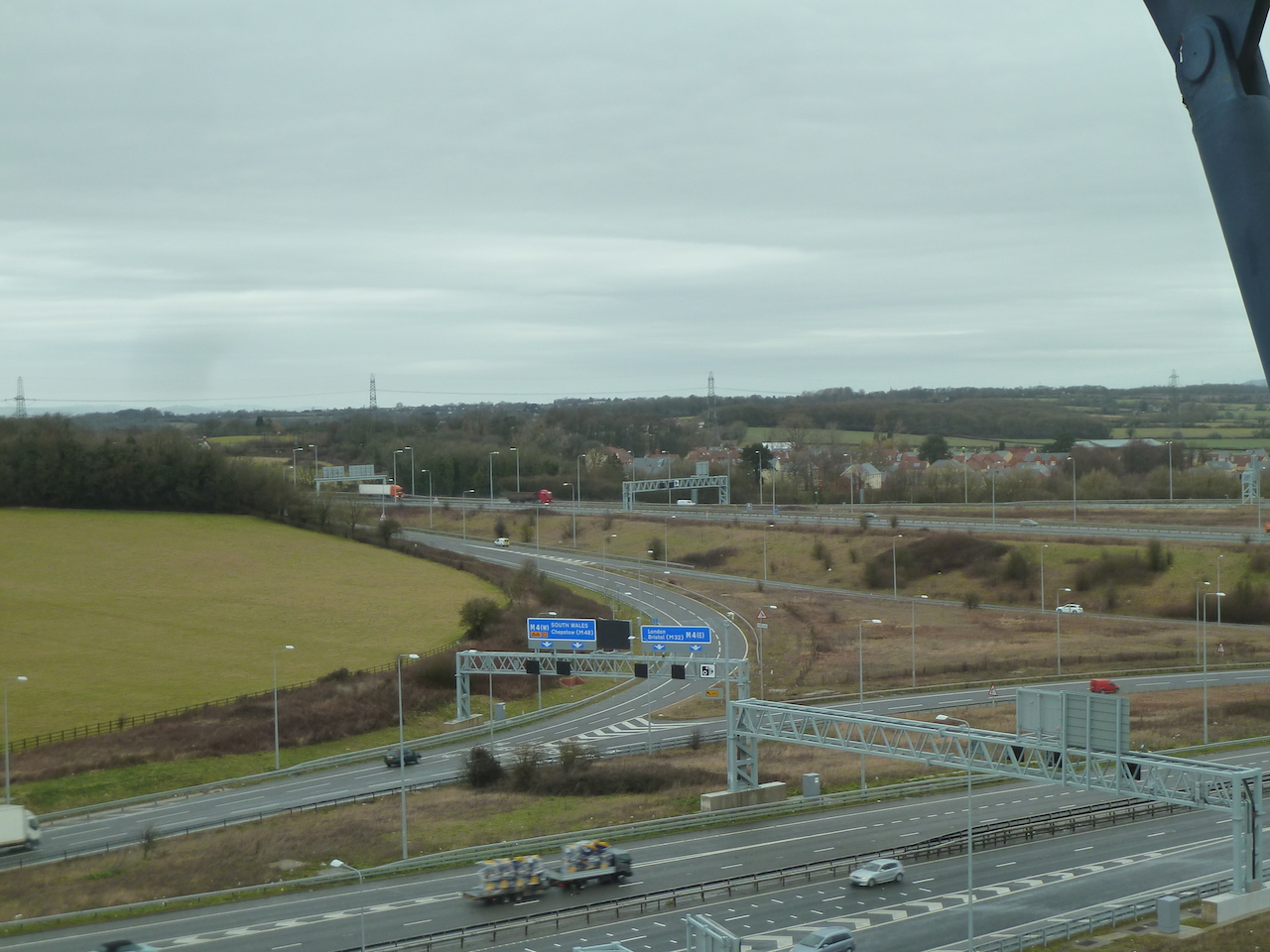 Looking north-west from the RAC building, from the Central Viewing Room, 30 metres or nearly 100 feet above ground level, there's a good view of the M5/M4 junction.