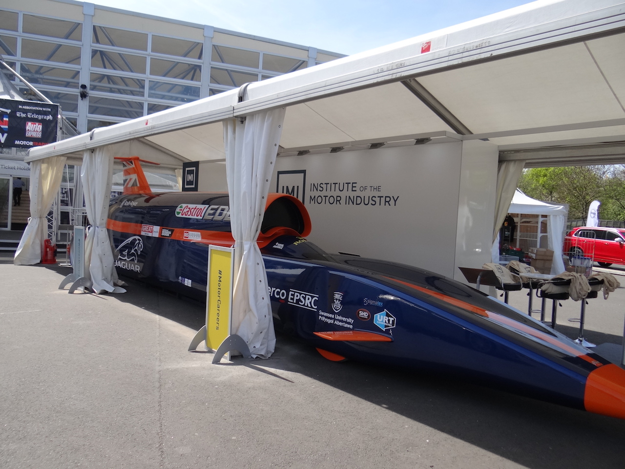 Britain's hope for a new Land Speed record rests with 'Bloodhound', seen here on display at the London Motor Show at Battersea.