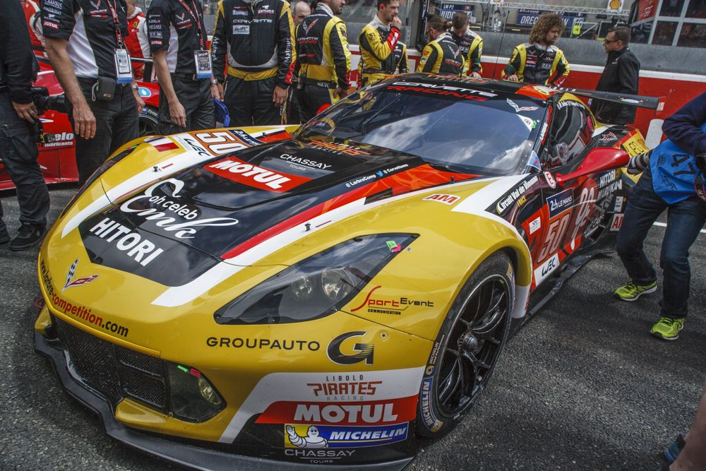 The GTE AM Chevrolet Corvette C7.R on the starting grid.