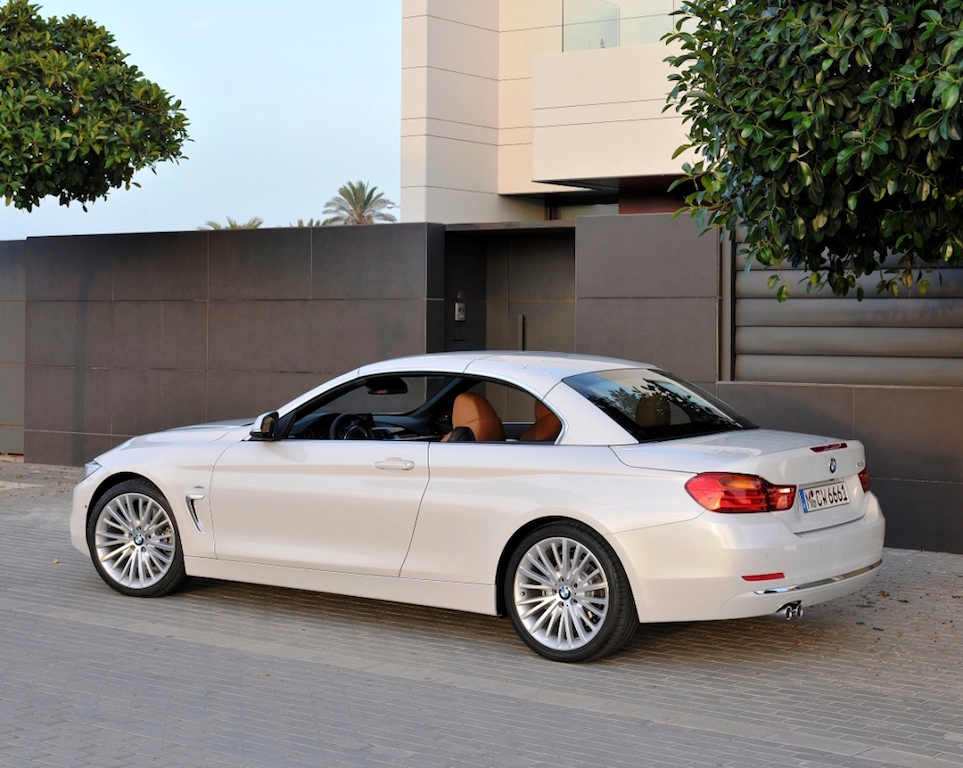 BMW 4 Series Convertible roof up side rear view copy