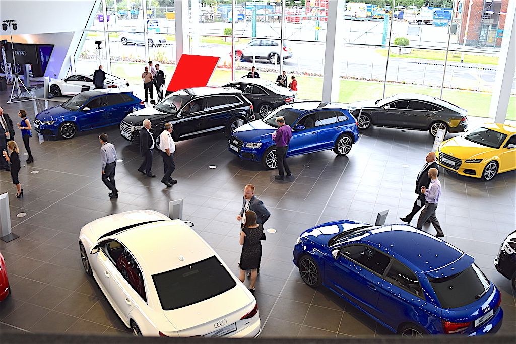 Part of Poole Audi Centre's new showroom, as viewed from the first floor balcony.
