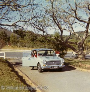 My sister was the first to inherit and enjoy the old family Austin, seen here at East London, South Africa, in 1973.