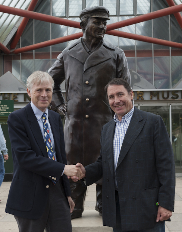 Lord Montagu and Jools Holland in front of the new statue of the late Edward, Lord Montagu.
