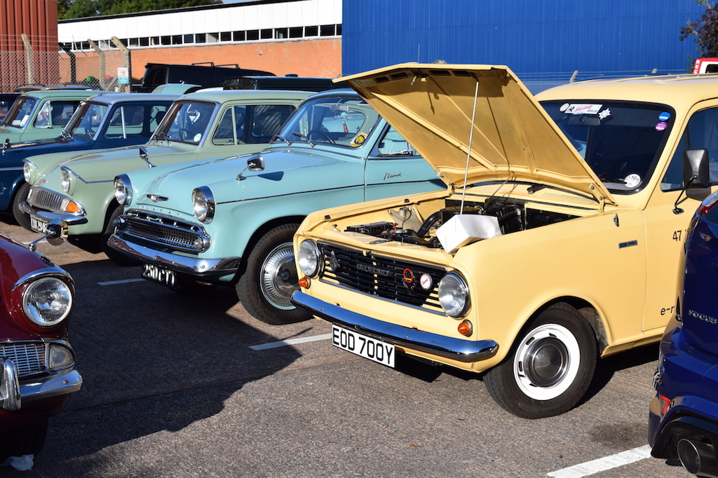 A lovely line-up at KMJ Restorations' Open Day in Exeter on 22nd October... Ford Anglia, Minx Convertible and Bedford HA van, still owned and used by the original buyer.