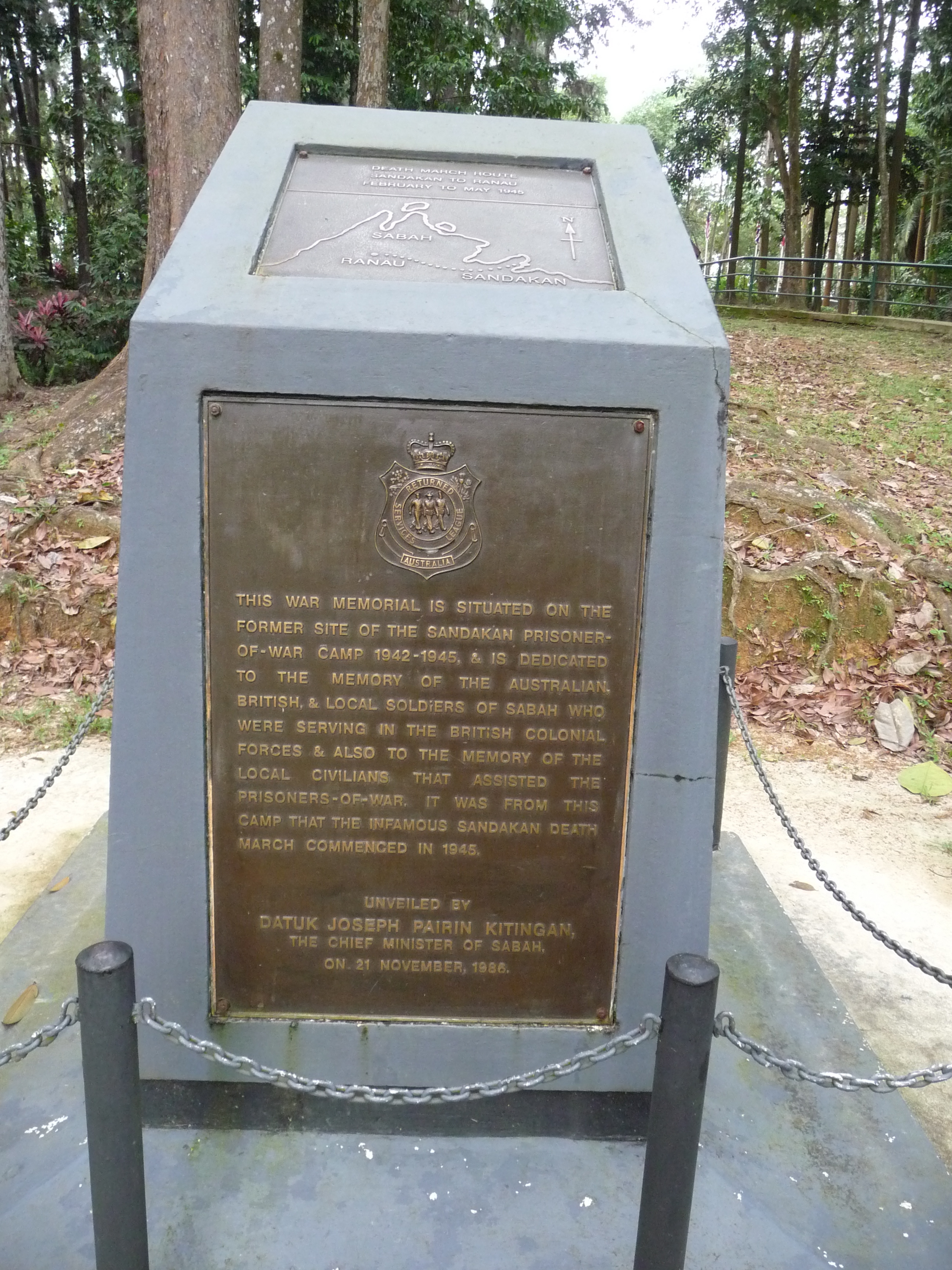 A memorial on the site of the notorious prisoner of war camp at Sandakan reminds vistors today of the allied personnel who didn't make it home, and the local people who tried so hard to help them...