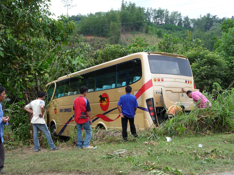 This coach had come off the road but luckily in this case nobody was hurt.