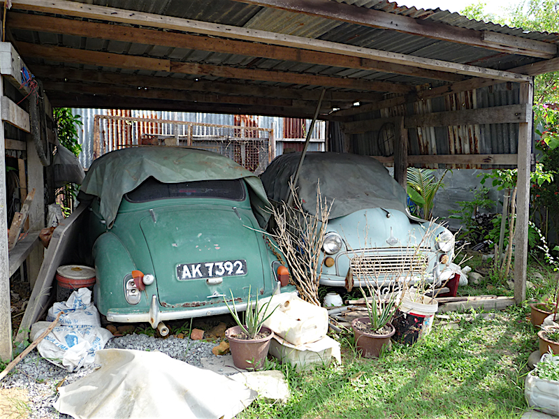 I couldn't repatriate these two Morris Minor 1000s but hope that someone in Sabah will return them to the road!