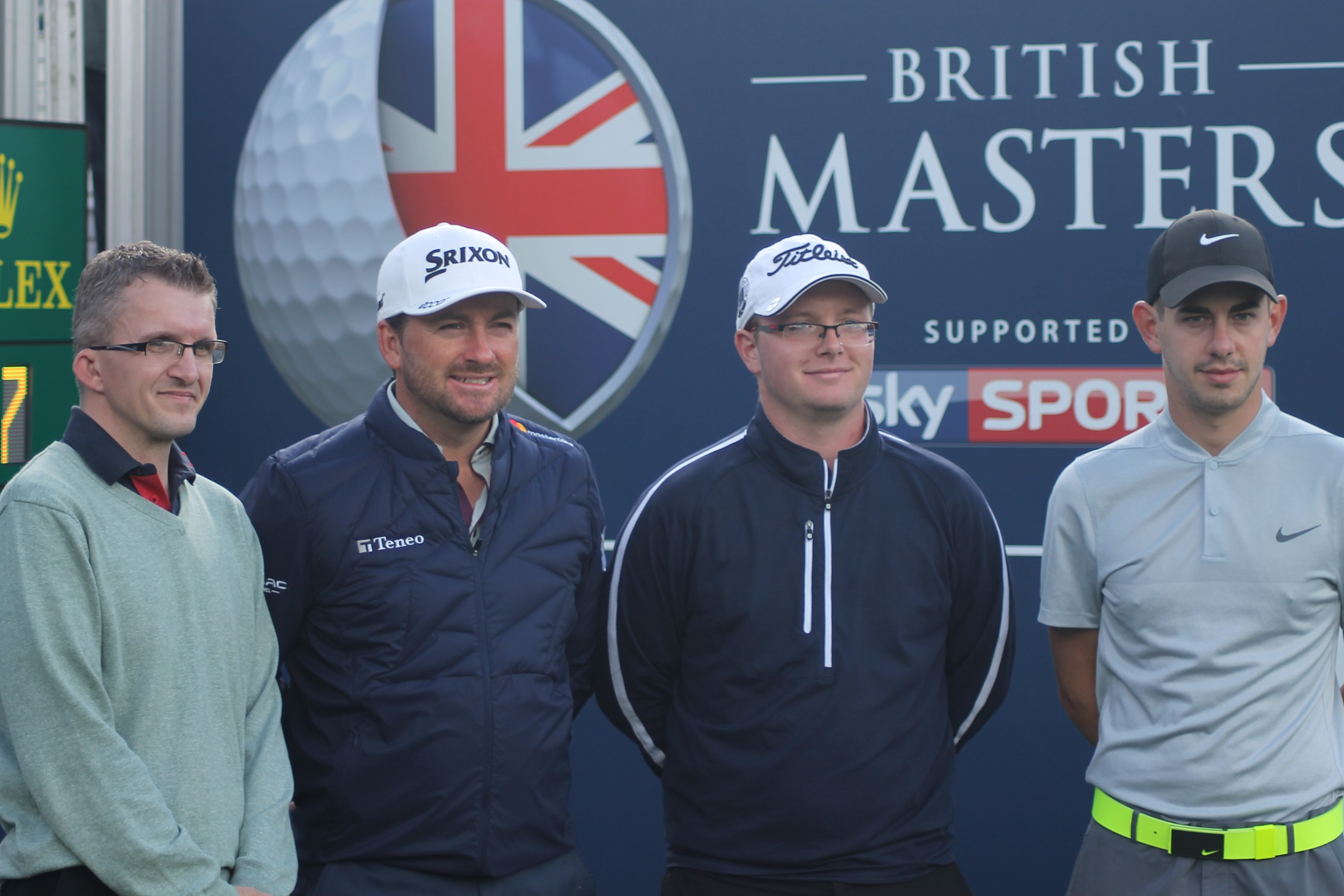 Peter Carr, Carl Broomfield and Zack Rosen enjoy a round of a lifetime with European Tour star Graeme McDowell (right).
